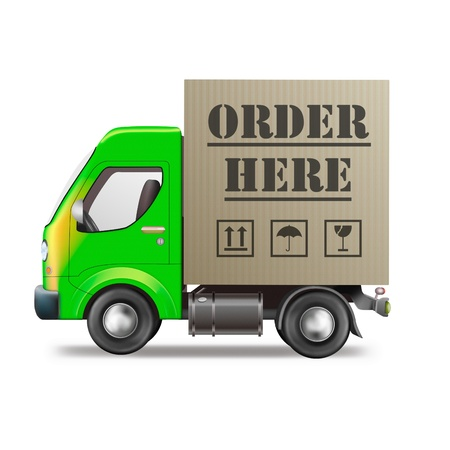 order here online internet shop web store delivery truck with cardboard box package photo