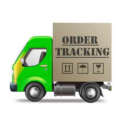 boite carton: paquet de suivi de commande de boutique internet bo�te en carton camion de livraison isol�e sur fond blanc Banque d'images