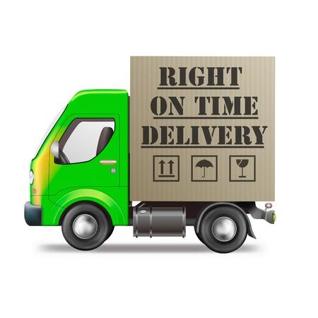 derecho sobre el icono de logística de camiones de entrega de tiempo