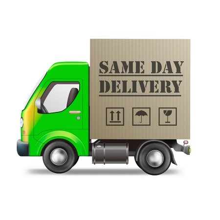 distributing: same day delivery truck with cardboard box package isolated on white Stock Photo