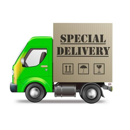 cartero: camiones de entrega especial env�o caja de cart�n con paquete urgente de la tienda en l�nea de web de internet