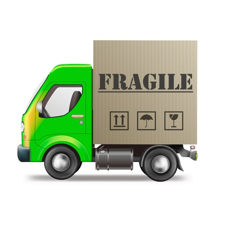 fragile: fragile delivery handle with care delivery truck with cardboard box breakable package or parcel sending careful transportation