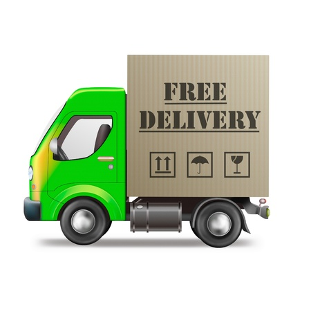 free delivery truck online order shipping from online internet store package sending delivering parcel package delivery free shipping Stock Photo - 9387525