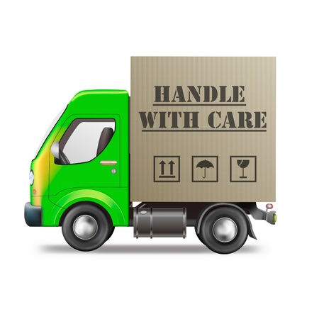 handle with care: handle with care delivery truck with cardboard box fragile package