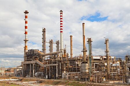 oil refinery petrochemical  chemical industry fuel destillation of petrol petrochemy Stock Photo - 9497514
