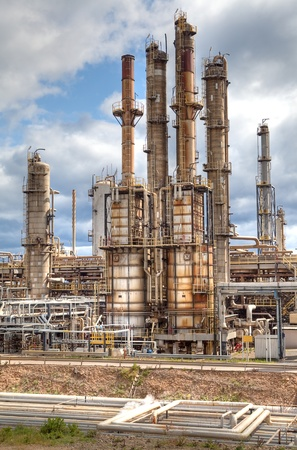oil refinery petrochemical  chemical industry fuel destillation of petrol petrochemy Stock Photo - 9497527