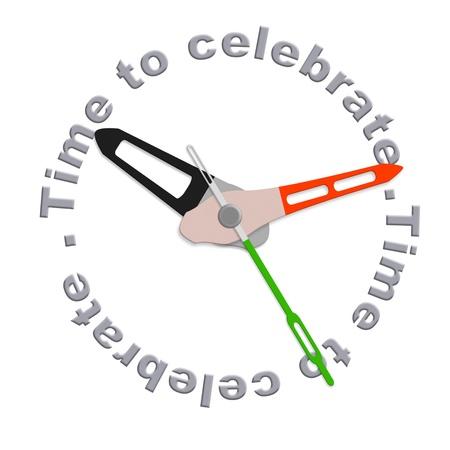 Tijd om te vieren partij time geïsoleerde klok met tekst met een vreugdevolle viering tijd
