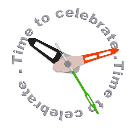 fulfillment: Time to celebrate party time isolated clock with text having a joyful celebration time