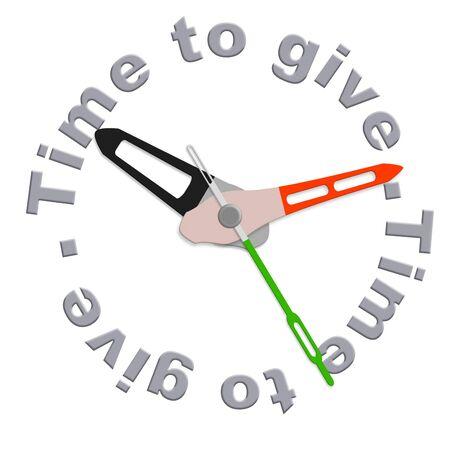 generosit�: Tempo per dare la carit� dando sostegno finanziario e di aiutare i poveri raccolta fondi da volenteers isolato orologio che indica la moent di essere generosi e donare la donazione ad un fondamento