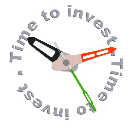 savings risk: Time to invest in a retirement plan in stock during market growth isolated clock indicating time for safe investment or adjust your scedule with time investment plan