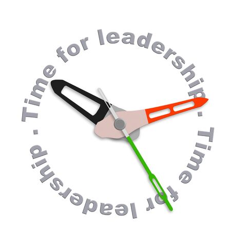 best guide: Time for leadership business leader market leader or team leader management to lead organization towards success isolated clock with text Stock Photo