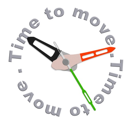 relocate: Time to move act now or move your things for relocation isolated clock with text urging for action