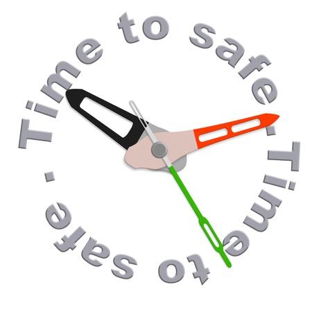 cuenta bancaria: dinero seguro y depositar ahorros de efectivo en cuenta bancaria aislado reloj que indica la hora de dep�sito bancario