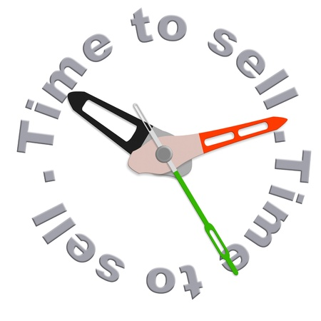 buy time: Time to sell on stock market clock indicating moment to start selling  during financial crisis  Stock Photo