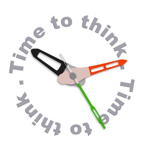 pensamiento creativo: Tiempo para pensar considerar pensamientos y equilibrado, hacen la decisi�n de lluvia de ideas de reloj aislado indicaci�n contemplaci�n cuenta regresiva e innovaci�n Foto de archivo