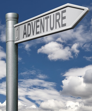 adventure road sign travel world live adventurous with outdoor extreme sports world travel and exploration of the wildeness explore the world, arrow  Stock Photo