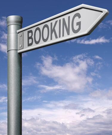hotel room: booking road sign arrow pointing towards online booking ticket, flight, hotel room or vacation, Stock Photo