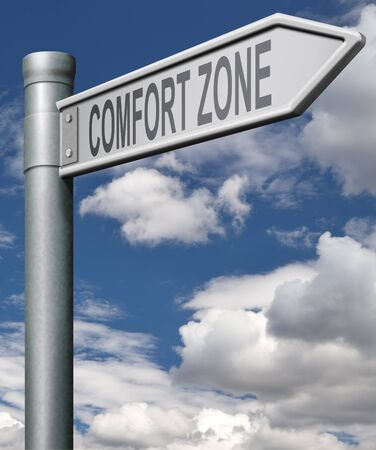 comfort zone road sign choose easy way with no risks, arrow  photo