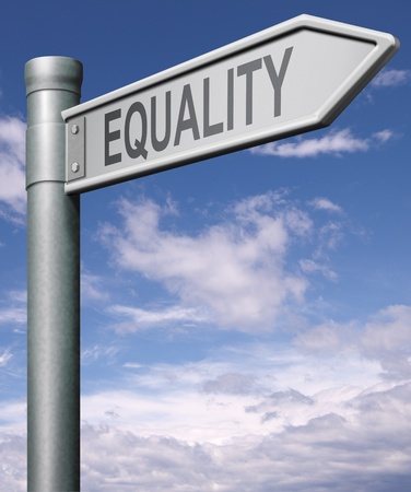 equality road sign indicating way to equal rights and equal opportunities no discrimination but solidarity black and white able and disable man and women Stock Photo - 9497573