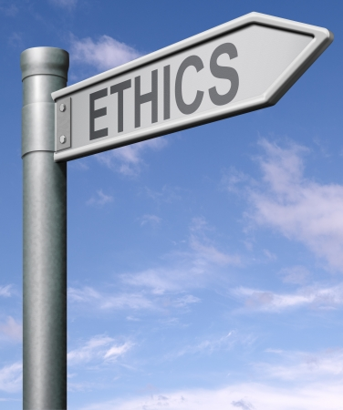 principles: ethics road sign arrow indicating way to choice between good and bad or evil