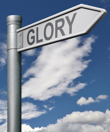 road to glory job wel done road sign arrow Stock Photo - 9497571
