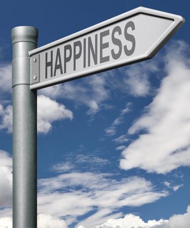Route à la recherche du bonheur et de trouver un accomplissement de vie joyeux de vie heureuse, flèche  Banque d'images - 9497585