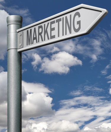 marketing road sign arrow concept for market positioning and product advertisement marketing concept building a brand and for business management Stock Photo - 9497592