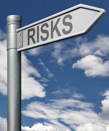 money risk: risks financial risk environmental risk or social risk risky business dangerous, risk assesment risk management, road arrow Stock Photo