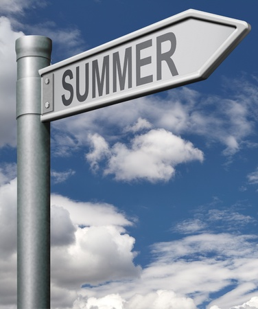 summer time: summer time road sign arrow pointing towards summer vacation or holiday destination sun and fun, Stock Photo