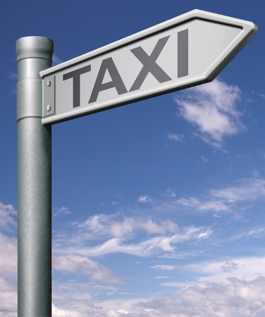 reservations: taxi search road sign arrow indicating public transportation tourist travel  Stock Photo