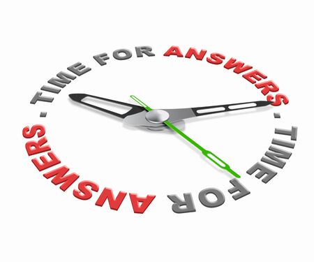 find solution: Time for answers, ask questions and find solution to your problems. Online help desk answer button Stock Photo
