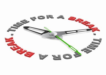 just in time: Time for a break, lunch or coffee break or just a time out for relaxation and enjoyng free time isolated clock with text