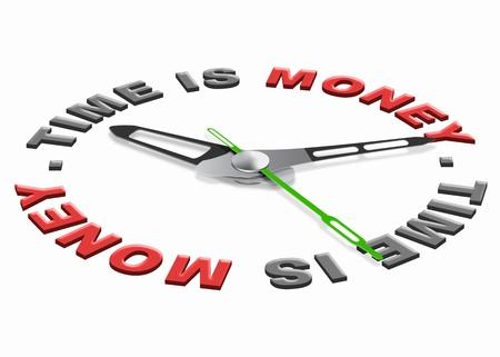 earn: El tiempo es dinero no vaya a tiempo waisting, reloj aislado con icono de tiempo de dinero Foto de archivo