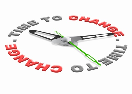 change concept: Time for change improve for the better evolve and innovate clock indicating improvement changing the world or your life Stock Photo