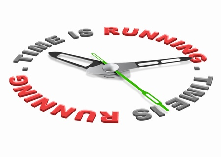 running late: time is running time slips away working against clock losing hours