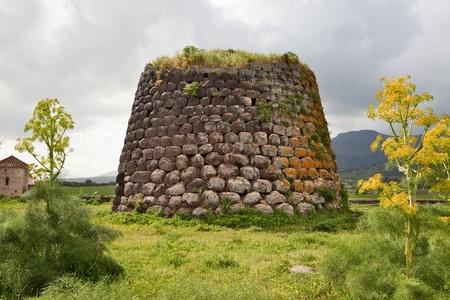 sardaigne: Nuraghe tour des ruines et de fleurs g�antes Sardaigne Sardegna restes arch�ologiques de l'Italie b�timent pr�historique de l'�ge trourism la civilisation antique en bronze
