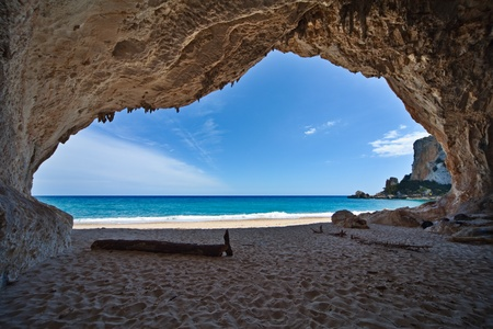 cave paradise blue sea and sky relaxation paradise on beach tourism tropical island photo
