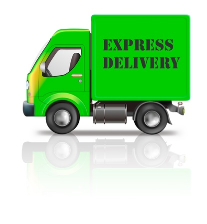 distributing: express delivery truck fast quick and urgent package shipping from order in online web shop transportation Stock Photo