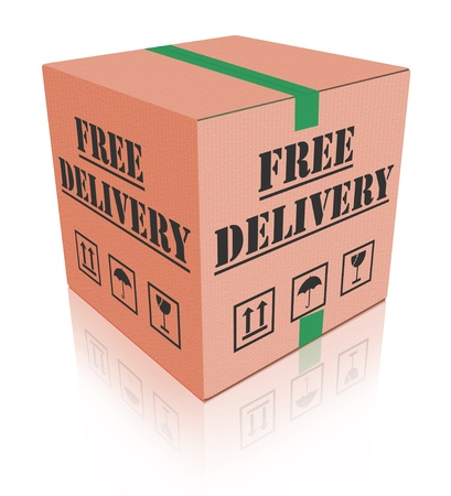 free shipping package delivery cardboard box parcel with text order shipment logistics after online shopping deliver orders  photo