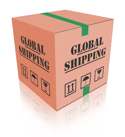 worldwide shipping cardboard box delivery global order shipment from internet web shop photo