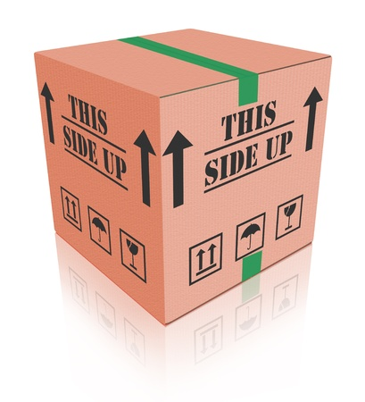 handle with care: this side up package cardboard box with text shipment storage or delivery packet from online order handle with care fragile