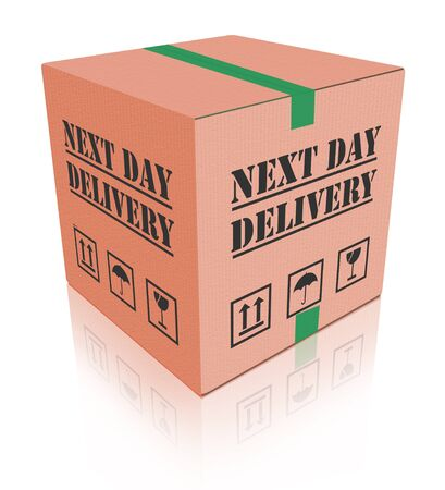 next day delivery urgent package shipment deliver shopping order cardboard box sending or shipping internet orders from web shop photo