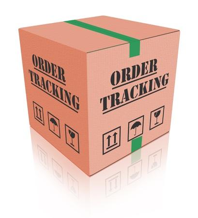 boite carton: Afin de suivi �valuation en ligne de l'exp�dition carton d'exp�dition Banque d'images