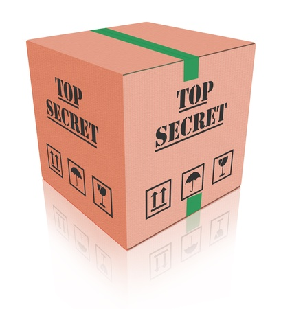 sigilo: top secret package closed cardboard box with important classified information secrecy
