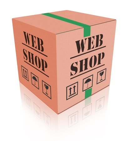 order online: online shop cardboard box internet shopping store to order online on the web shop internet shop