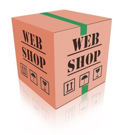 sack truck: online shop cardboard box internet shopping store to order online on the web shop internet shop