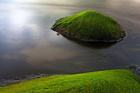seascape seaweed on rocky shore long exposure makes smooth sea surface photo