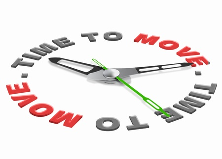 relocation: time to move moving in or out or start the action act now Stock Photo