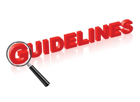 guidelines: guidelines or instructions indicated by red text and magnify glass search button for manual