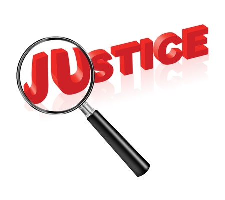 crime solving: justice solve crime search law and order red text and magnify glass morality ethics thruth and harmony